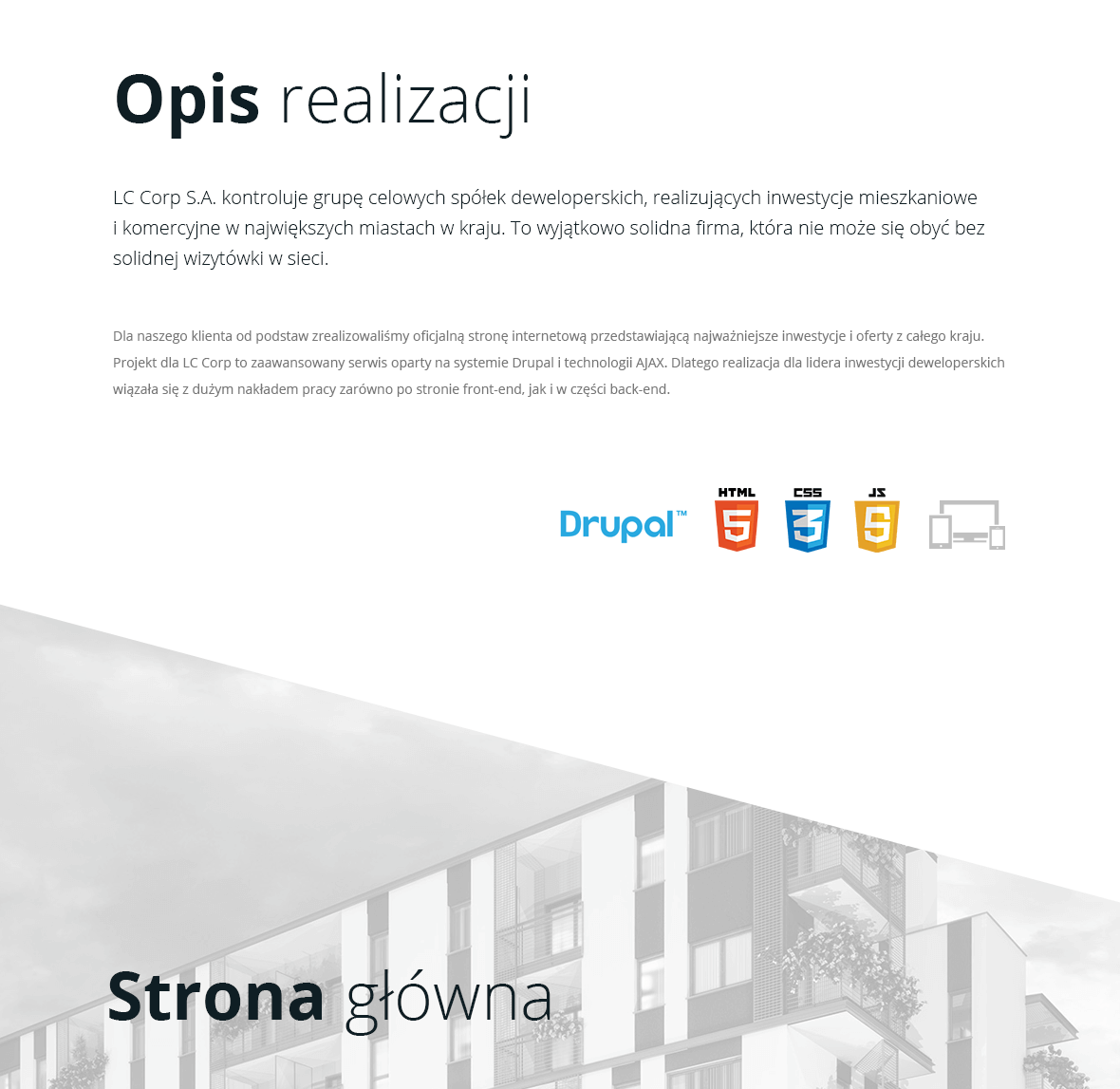 Strona z systemem Drupal